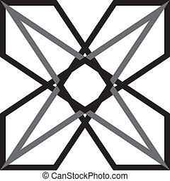 Abstract double star black and gray on transparency background element