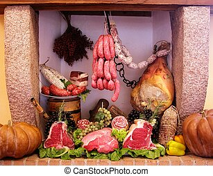 Cold cuts and meat composition - Composition of italian cold...