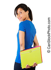 Beautiful studen woman - Happy student woman with notebooks