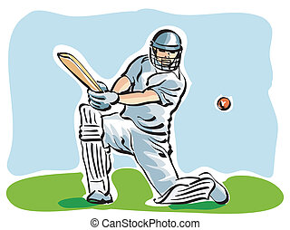 Cricket - illustration of a cricket player