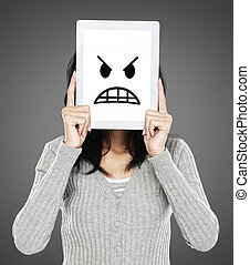 woman showing angry emotion icon - woman cover her face with...
