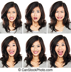 woman with different facial expression - young woman with...