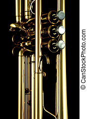 gold trumpet in night - gold lacquer trumpet details on...