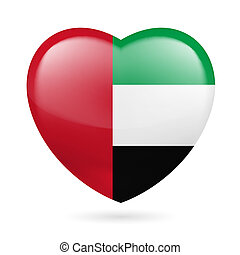 Heart icon of United Arab Emirates - Heart with United Arab...