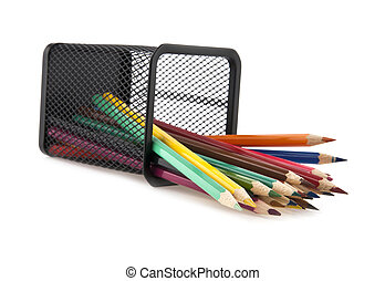 pencils in a basket on a white background