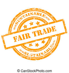 Sustainable, Fair Trade. Rubber Stamp, Grunge, Circle -...