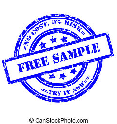 Free Sample button, Rubber Stamp, Grunge, Circle - Free...
