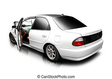 car in an accident - white car in an accident isolated on a...