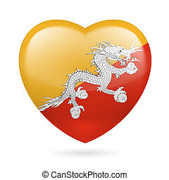 Heart icon of Bhutan - Heart with Bhutanese flag colors I...