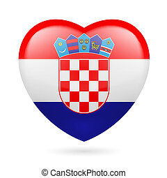 Heart icon of Croatia - Heart with Croatian flag colors. I...