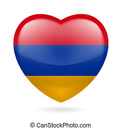 Heart icon of Armenia - Heart with Armenian flag colors I...