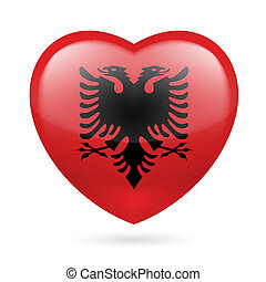 Heart icon of Albania - Heart with Albanian flag colors. I...