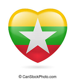 Heart icon of Myanmar - I love Myanmar Heart with flag...