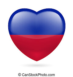 Heart icon of Haiti - Heart with Haitian flag colors I love...