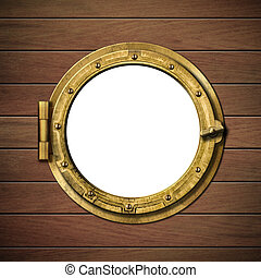 detailed wooden ship porthole