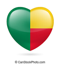 Heart icon of Benin - Heart with Beninese flag colors. I...