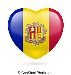 Heart icon of Andorra - Heart with Andorran flag colors. I...