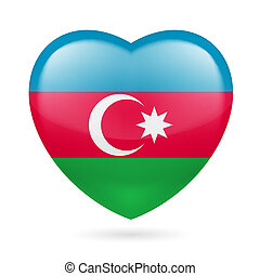 Heart icon of Azerbaijan - Heart with Azerbaijanian flag...