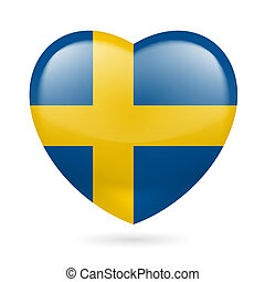 Heart icon of Sweden - Heart with Swedish flag colors. I...