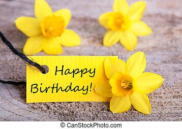 amarela, etiqueta, Feliz, aniversário
