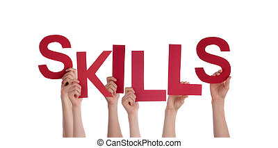 Peron Holding Skills - Many People Holding Skills as a Word,...