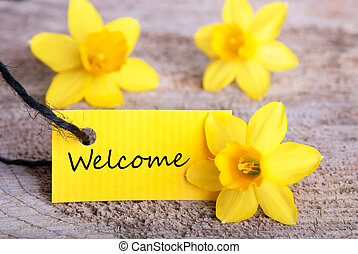 Yellow Label with Welcome and Yellow Daffodils in the...
