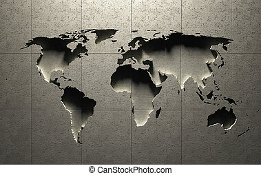 3D World Map molded into solid concrete blocked wall ( map...
