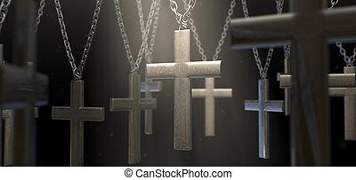 Hanging Metal Crucifixes - A group of metal crucifixes...