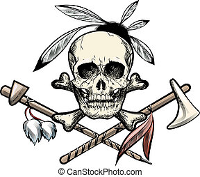 The indian skull - Illustration with skull with feathers...