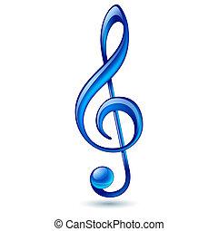 Blue treble clef - Shiny blue treble clef on white...