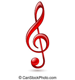 Red treble clef - Shiny red treble clef on white background