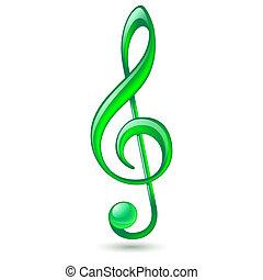 Green treble clef - Shiny green treble clef on white...