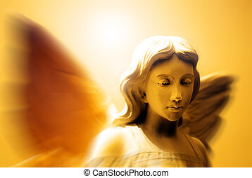 Angel and Heavenly Light - Angel with wings in front of...
