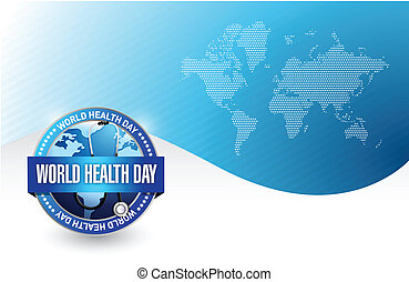world health day illustration design over a blue background