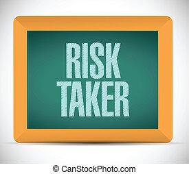 risk taker message on a chalkboard. illustration design over...