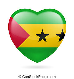 Heart icon of Sao Tome and Principe - Heart with Sao Tome...