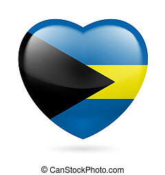 Heart icon of Bahamas - Heart with Bahamian flag colors I...