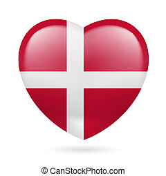 Heart icon of Denmark - Heart with Danish flag colors. I...