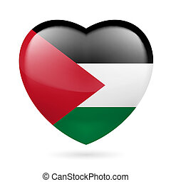 Heart icon of Palestine - Heart with Palestinian flag colors...