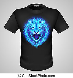 Male t-shirt with lion print - Black male t-shirt with print...