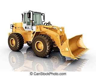 Wheel Loader - Computer generated 3D illustration with a...