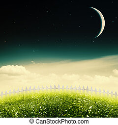 Starry night on the beauty meadow, abstract environmental...