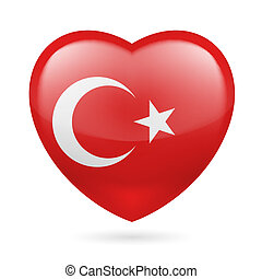 Heart icon of Turkey - Heart with Turkish flag colors. I...