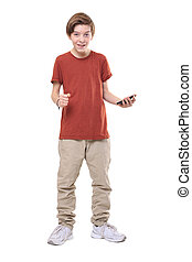 smiling male teenager with smart phone in one hand, isolated on white.
