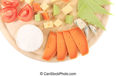 Cheeseboard. Isolated on a white background.