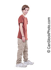 whole body portrait of a smiling male teenager, isolated on white.