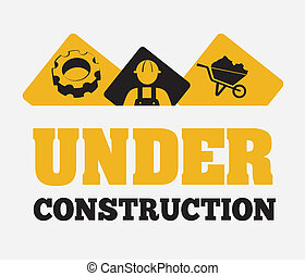 Under construction design over gray background, vector...