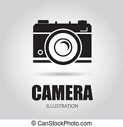 Camera design over gray background, vector illustration