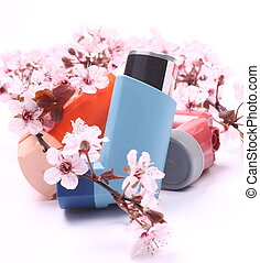 asma, inaladores, florescer, árvore, ramos, sobre,...