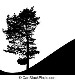 Tree Silhouette Isolated on White Backgorund Vecrtor...